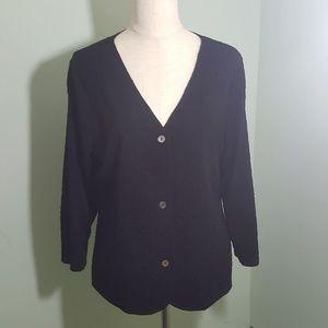Effortless Style Black V-Neck Button Front